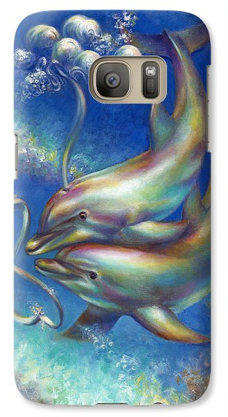Galaxy Case featuring the painting Infinity- Bottlenose Dolphins At Play by Nancy Tilles