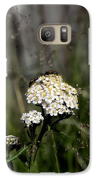 Galaxy Case featuring the photograph Insect On White Flower by Leif Sohlman