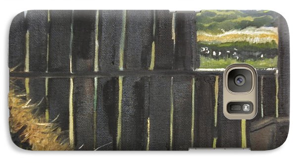 Galaxy Case featuring the painting Barn -inside Looking Out - Summer by Jan Dappen