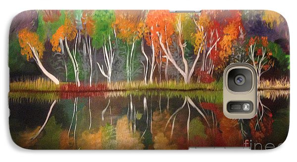 Galaxy Case featuring the painting Inspiration Autumn Evening In Work by Art Ina Pavelescu