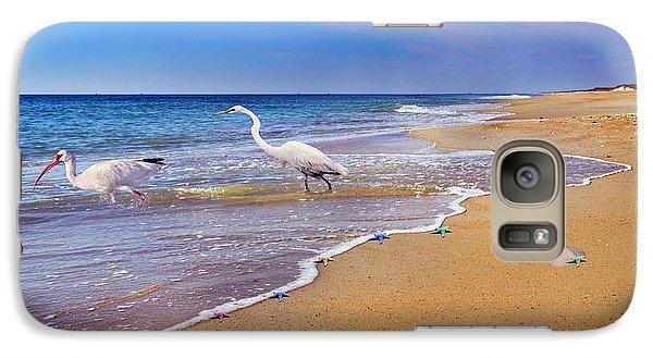 Ibis Galaxy S7 Case - Inspiring Ibis Egret Sandpiper Starfish Sand Dollars  by Betsy Knapp