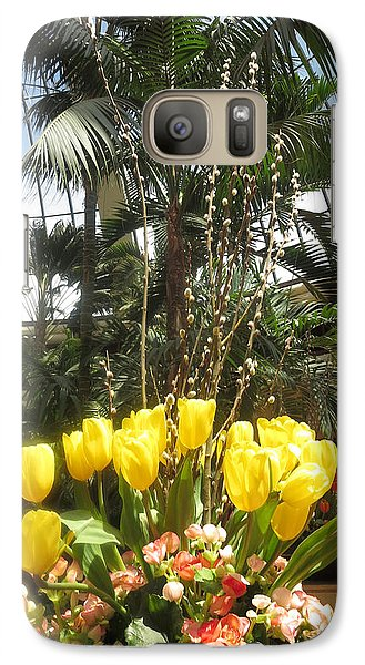 Galaxy Case featuring the photograph Interior Decorations Butterfly Gardens Vegas Golden Yellow Tulip Flowers by Navin Joshi