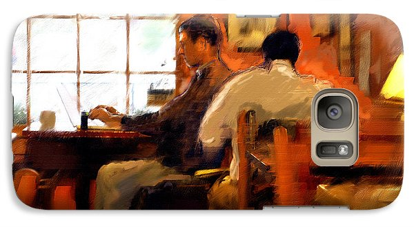 Galaxy Case featuring the painting Internet Coffee House by Ted Azriel