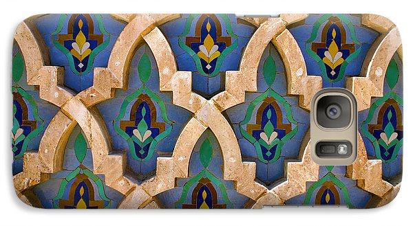 Galaxy Case featuring the photograph Intricate Zelji At The Hassan II Mosque Sour Jdid Casablanca Morocco by Ralph A  Ledergerber-Photography