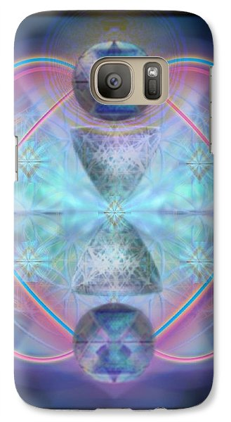 Galaxy Case featuring the digital art Intwined Hearts Chalice Shimmering Turquoise Vortexes by Christopher Pringer