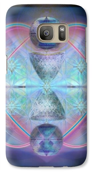 Galaxy Case featuring the digital art Intwined Hearts Gold-lipped 3d Chalice Orbs Radiance by Christopher Pringer