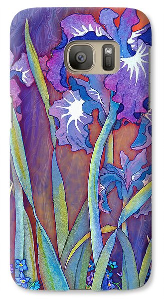 Galaxy Case featuring the mixed media Iris Bouquet by Teresa Ascone