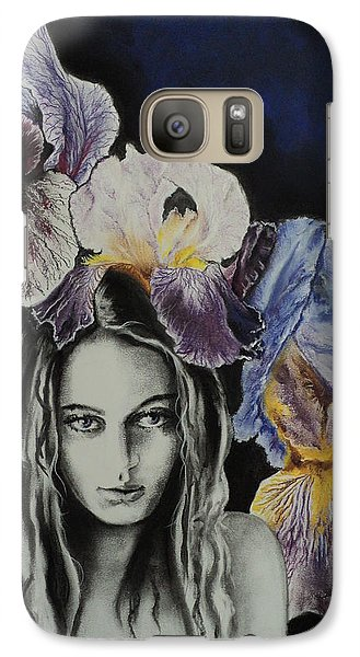 Galaxy Case featuring the drawing Iris by Carla Carson