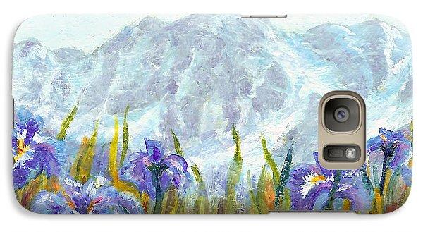 Galaxy Case featuring the painting Iris Field In Alaska by Karen Mattson