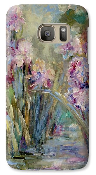Galaxy Case featuring the painting Iris Garden by Mary Wolf