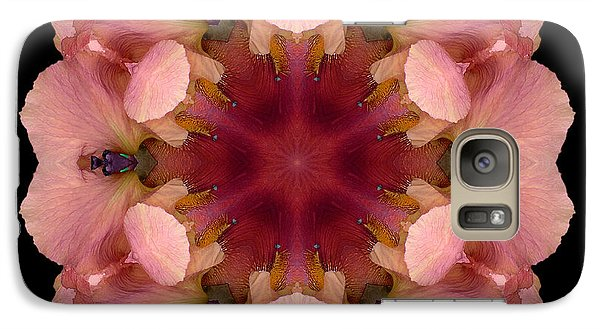 Galaxy Case featuring the photograph Iris Germanica Flower Mandala by David J Bookbinder