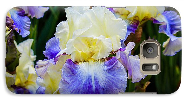 Galaxy Case featuring the photograph Iris In Blue And Yellow by Patricia Babbitt
