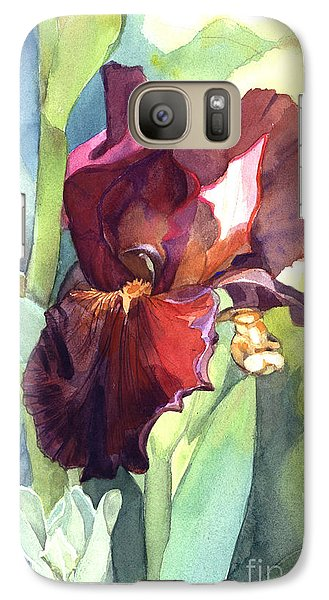 Galaxy Case featuring the painting Iris In Red And Burgundy by Greta Corens