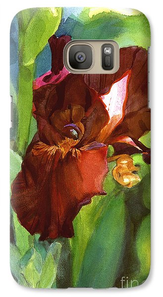 Galaxy Case featuring the painting Iris Sienna Brown by Greta Corens