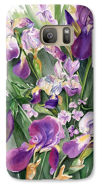 Galaxy Case featuring the painting Irises In The Garden by Nadine Dennis