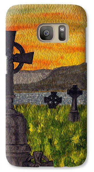 Galaxy Case featuring the painting Irish Cemetery-painting by Megan Dirsa-DuBois