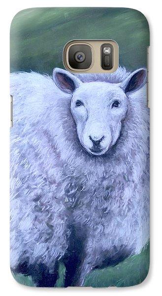 Galaxy Case featuring the painting Irish Sheep Portrait by Melinda Saminski