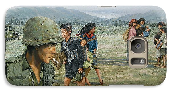Galaxy Case featuring the painting Iron Triangle Refugees 1965 by Bob  George
