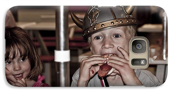Galaxy Case featuring the photograph Is She Adoring Her Viking Or Coveting His Lunch by Sandi Mikuse