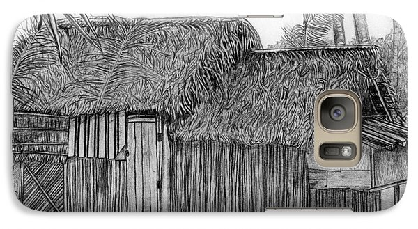 Galaxy Case featuring the drawing Island House 1 by Lew Davis
