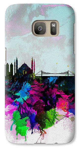 Turkey Galaxy S7 Case - Istanbul Watercolor Skyline by Naxart Studio