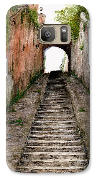 Galaxy Case featuring the painting Italian Walkway Steps To A Tunnel by Nan Wright