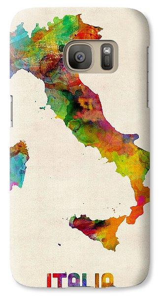 Italy Watercolor Map Italia Galaxy Case by Michael Tompsett