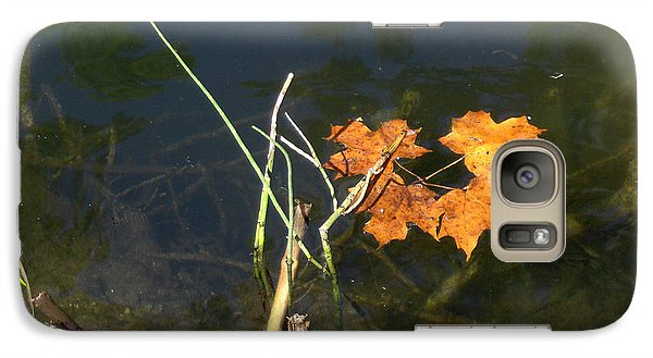 Galaxy Case featuring the photograph It's Over - Leafs On Pond by Brenda Brown