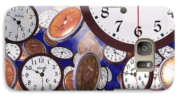 Galaxy Case featuring the digital art It's Raining Clocks - New York by Nicola Nobile