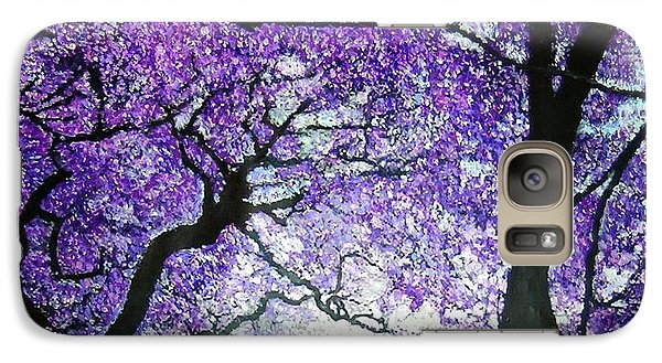 Galaxy Case featuring the painting Jacarandas By The River by Marie-Line Vasseur