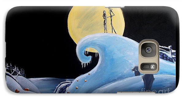 Galaxy Case featuring the painting Jack And Sally Snowy Hill by Marisela Mungia