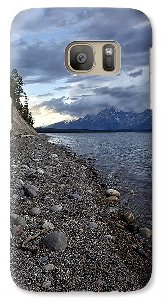 Galaxy Case featuring the photograph Jackson Lake Shore With Grand Tetons by Belinda Greb