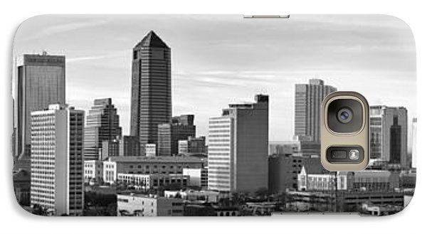 Galaxy Case featuring the photograph Jacksonville Skyline Morning Day Black And White Bw Panorama Florida by Jon Holiday