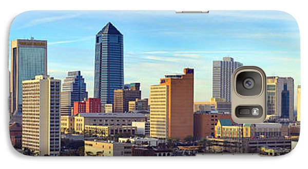 Galaxy Case featuring the photograph Jacksonville Skyline Morning Day Color Panorama Florida by Jon Holiday