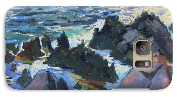 Galaxy Case featuring the painting Jagged Rocks by Linda Novick