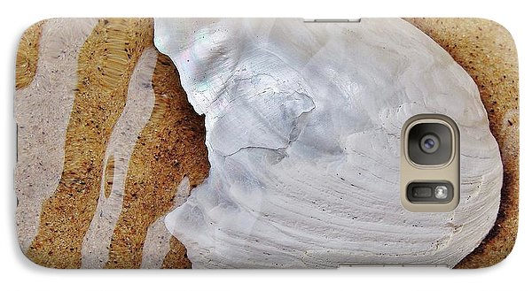 Galaxy Case featuring the photograph Jagged White Shell by Kathi Mirto