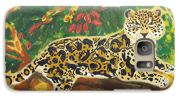 Galaxy Case featuring the painting Jaguars In A Jaguar by Cassandra Buckley