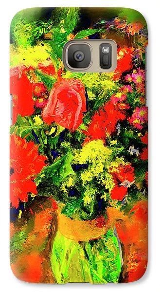 Galaxy Case featuring the painting J'aime Le Bouquet by Ted Azriel