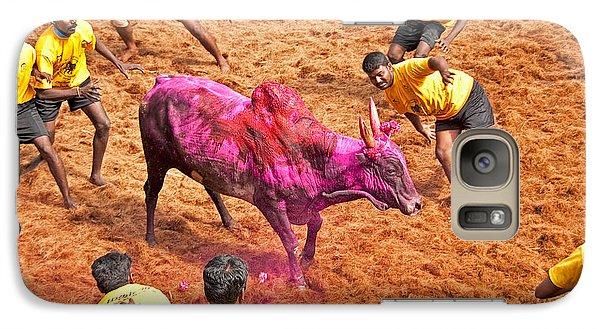 Galaxy Case featuring the photograph Jallikattu Bull Fighting by Dennis Cox WorldViews