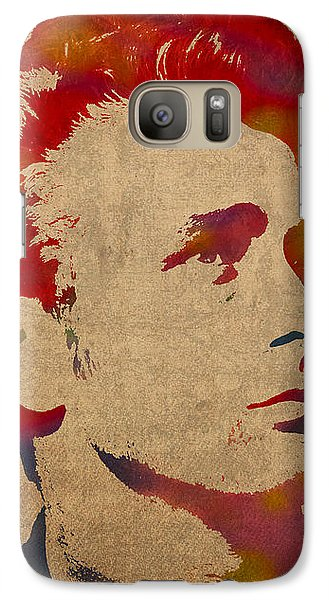 James Dean Watercolor Portrait On Worn Distressed Canvas Galaxy S7 Case by Design Turnpike