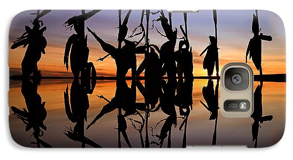 Galaxy Case featuring the photograph January Cornstalks by Jaki Miller
