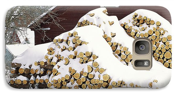 Galaxy Case featuring the photograph January Woodpile by Alan L Graham