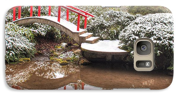 Galaxy Case featuring the photograph Japanese Garden Snowfall 2 by Jeff Cook