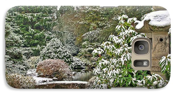 Galaxy Case featuring the photograph Japanese Garden Snowfall by Jeff Cook