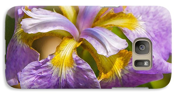 Galaxy Case featuring the photograph Japanese Iris In Dry Brush by Susan Crossman Buscho