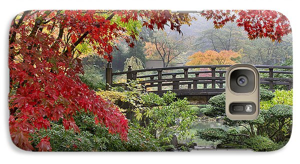 Galaxy Case featuring the photograph Japanese Maple Trees By The Bridge In Fall by JPLDesigns