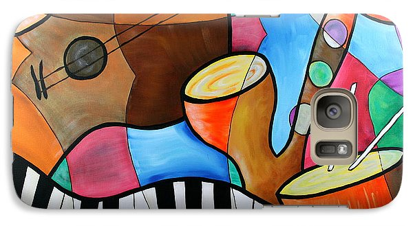 Galaxy Case featuring the painting Jazz Band Inspired By Eric Waugh by Bob Baker