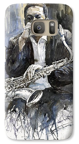 Jazz Galaxy S7 Case - Jazz Saxophonist John Coltrane Yellow by Yuriy Shevchuk