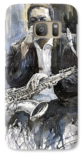 Galaxy S7 Case - Jazz Saxophonist John Coltrane Yellow by Yuriy Shevchuk