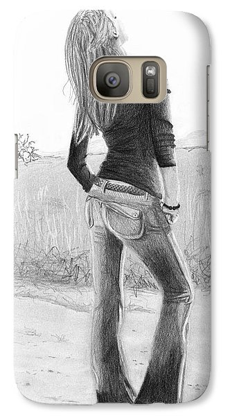 Galaxy Case featuring the drawing Jeans by Denise Deiloh